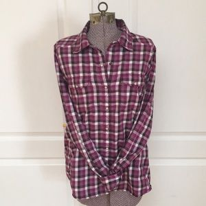 The North Face - Purple Plaid Button Down Shirt
